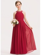 A-Line Scoop Neck Floor-Length Chiffon Junior Bridesmaid Dress With Ruffle Beading Bow(s)