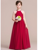 Floor-length Flower Girl Dress - Chiffon Sleeveless Scoop Neck