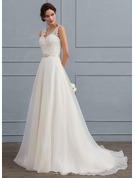 A-Line V-neck Sweep Train Organza Wedding Dress With Beading Bow(s)