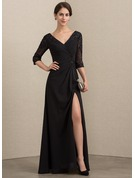 A-Line/Princess V-neck Floor-Length Chiffon Lace Mother of the Bride Dress With Beading Sequins Split Front