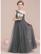 A-Line One-Shoulder Floor-Length Tulle Sequined Junior Bridesmaid Dress With Ruffle
