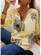 Regular Cotton Blends V-Neck Dandelion Print Fitted Blouses
