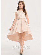A-Line Asymmetrical Flower Girl Dress - Satin Sleeveless Scoop Neck With Beading