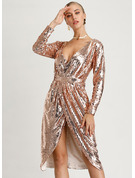 Cotton/Spandex With Sequins Knee Length Dress
