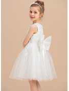 Áčkové Šaty Po kolena Flower Girl Dress - Tyl/Krajka Bez rukávů Scoop Neck S Krajka/Luk