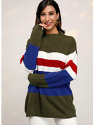 Stripe Polyester round Neck Pull over Gensere