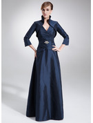 A-Line V-neck Floor-Length Taffeta Mother of the Bride Dress With Ruffle Beading