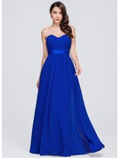 Sweetheart Floor-Length Chiffon Bridesmaid Dress With Ruffle