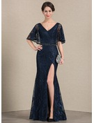 Trumpet/Mermaid V-neck Floor-Length Lace Evening Dress With Beading Sequins Split Front
