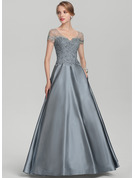 A-Line/Princess V-neck Floor-Length Satin Lace Evening Dress With Beading Sequins Pockets