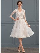 V-neck Knee-Length Tulle Wedding Dress With Bow(s)