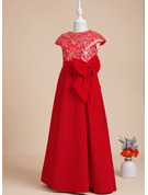 A-Line Floor-length Flower Girl Dress - Short Sleeves Scoop Neck With Sequins/Bow(s)