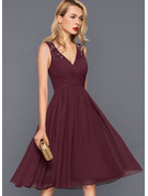A-Line V-neck V-Neck Knee-Length Chiffon Cocktail Dress With Ruffle