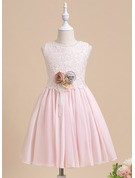 Ball-Gown/Princess Knee-length Flower Girl Dress - Sleeveless Scalloped Neck With Lace/Flower(s)/Bow(s)