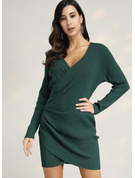 Solid Polyester V-neck Above Knee Day Dresses Casual Dresses Sweaters