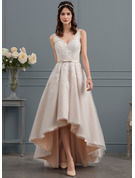 V-neck Asymmetrical Tulle Lace Wedding Dress With Bow(s)