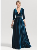 A-Line/Princess V-neck Floor-Length Velvet Evening Dress With Beading Sequins