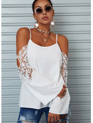 Regular Cotton Blends Cold Shoulder Lace Solid Fitted Blouses
