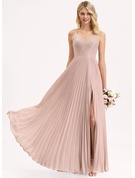 A-Line V-neck Floor-Length Chiffon Lace Prom Dresses With Bow(s) Split Front Pleated