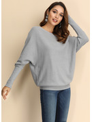 Solid Polyester Off the Shoulder Pullovers Sweaters