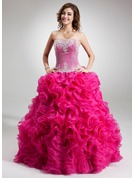 Ball-Gown Strapless Floor-Length Organza Quinceanera Dress With Beading Appliques Lace Sequins Cascading Ruffles