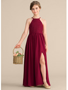 Scoop Neck Floor-Length Chiffon Lace Junior Bridesmaid Dress With Split Front
