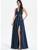 V-neck Floor-Length Satin Prom Dresses With Lace Sequins Split Front