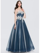 Ball-Gown/Princess Sweetheart Floor-Length Tulle Prom Dresses With Ruffle Beading Sequins