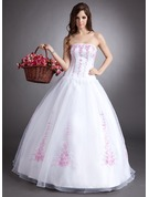 Ball-Gown Strapless Floor-Length Organza Quinceanera Dress With Embroidered Beading