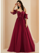 A-Line Sweetheart Sweep Train Tulle Prom Dresses With Sequins