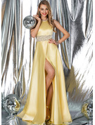 A-Line Scoop Neck Sweep Train Satin Prom Dresses With Beading Split Front Pockets
