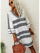 Print Shift V-Neck 3/4 Sleeves Flare Sleeve Midi Casual Tunic Dresses