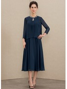 Scoop Neck Tea-Length Chiffon Mother of the Bride Dress With Beading Sequins
