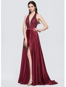 A-Line/Princess Halter Sweep Train Satin Prom Dresses With Beading Sequins Split Front