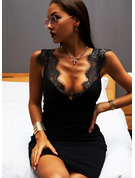 Solid Bodycon V-Neck Sleeveless Midi Little Black Sexy Dresses