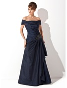 A-Line/Princess Off-the-Shoulder Sweep Train Taffeta Prom Dresses With Ruffle Appliques Lace Sequins