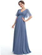 A-line V-Neck Floor-length Chiffon Maternity Bridesmaid Dress With Ruffle