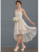 A-Line/Princess V-neck Asymmetrical Lace Wedding Dress