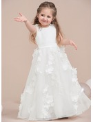 A-Line/Princess Floor-length Flower Girl Dress - Satin/Tulle Sleeveless Scoop Neck With Lace/Flower(s)