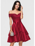A-Line Off-the-Shoulder Knee-Length Satin Prom Dresses With Lace Sequins