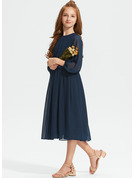 A-Line Scoop Neck Tea-Length Chiffon Junior Bridesmaid Dress With Ruffle Bow(s)