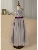 A-Line/Princess Ankle-length Flower Girl Dress - Satin/Tulle Sleeveless Scoop Neck With Sash (Undetachable sash)