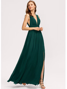 A-Line V-neck Floor-Length Bridesmaid Dress