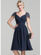 A-Line Sweetheart Knee-Length Chiffon Mother of the Bride Dress With Ruffle Beading Sequins