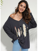 Long Sleeves Polyester V Neck Knit T-shirt Blouses