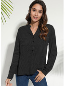 Long Sleeves Cotton Blends Polyester V Neck Shirt Blouses Blouses