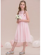 A-Line/Princess Scoop Neck Knee-Length Chiffon Junior Bridesmaid Dress With Ruffle