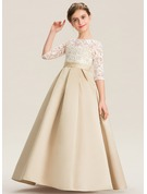 Ball-Gown/Princess Floor-length - Satin Lace 1/2 Sleeves Scoop Neck