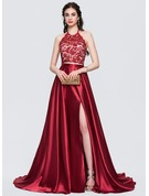 A-Line/Princess Halter Sweep Train Satin Prom Dresses With Beading Bow(s) Split Front