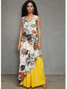 Cotton Blends With Print Maxi Dress